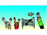 Youths playing netball